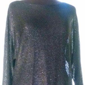 Altfani Black Sequin Top